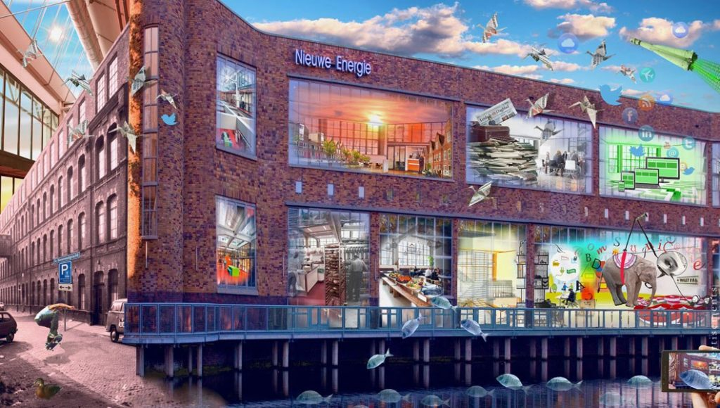 Design for 'Nieuwe Energie', showing the building and all the occupations. Creating curiosity and showing the different lines of business in the complex.