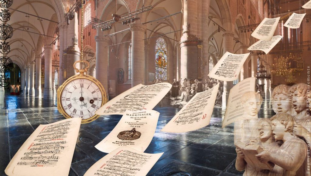 An artwork showing the history of Pieterskerk Leiden. The Pilgrim Fathers, Cornelis Schuyt, original pages of the 'Zevengetijdenmeesters', etc.
