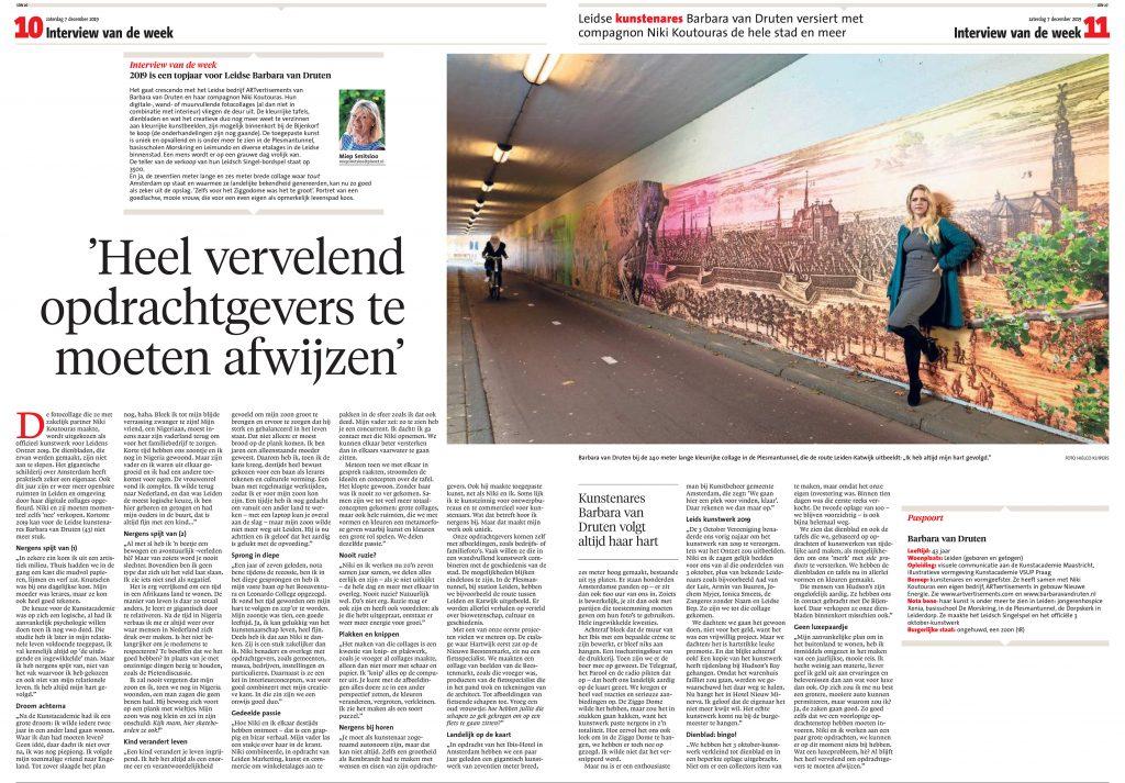 Leidsch Dagblad december 2019, door Miep Smitsloo