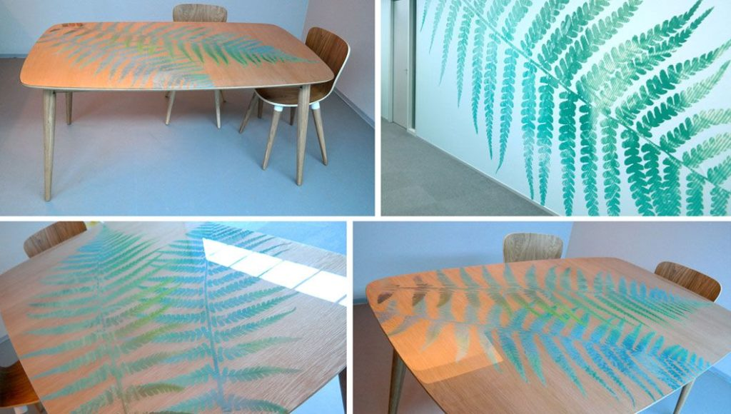 Table design created to enhance the corporate identity of Werkse (an employment agency for people with poor job prospects)! The wooden pattern remained visible.